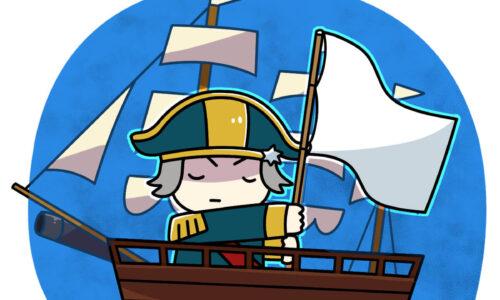 イギリス軍艦 塩が途切れて白旗を挙げるイギリス海軍の帆船